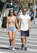 Brittny Ward and Jenson Button engage in PDA while out to lunch at Katsuya in Brentwood, Los Angeles