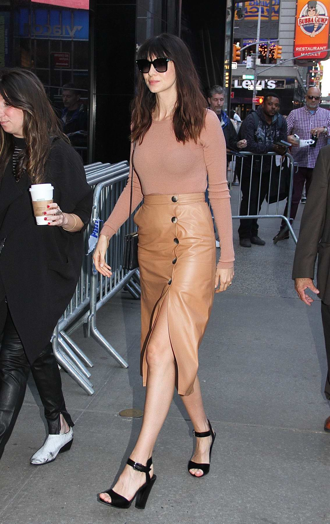 Caitriona Balfe visits Good Morning America at Times Square in New York City
