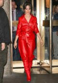 Camila Cabello in red leather jumpsuit and red boots visits The Tonight Show Starring Jimmy Fallon in New York City