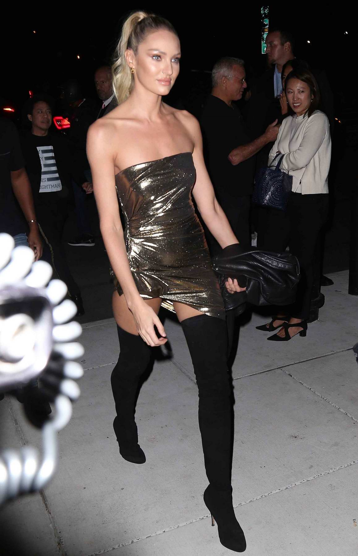 Candice Swanepoel spotted arriving at Mert and Marcus book launch in New York City