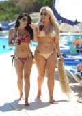 Casey Batchelor and Frankie Essex in bikini enjoying drink on their holiday in Spain