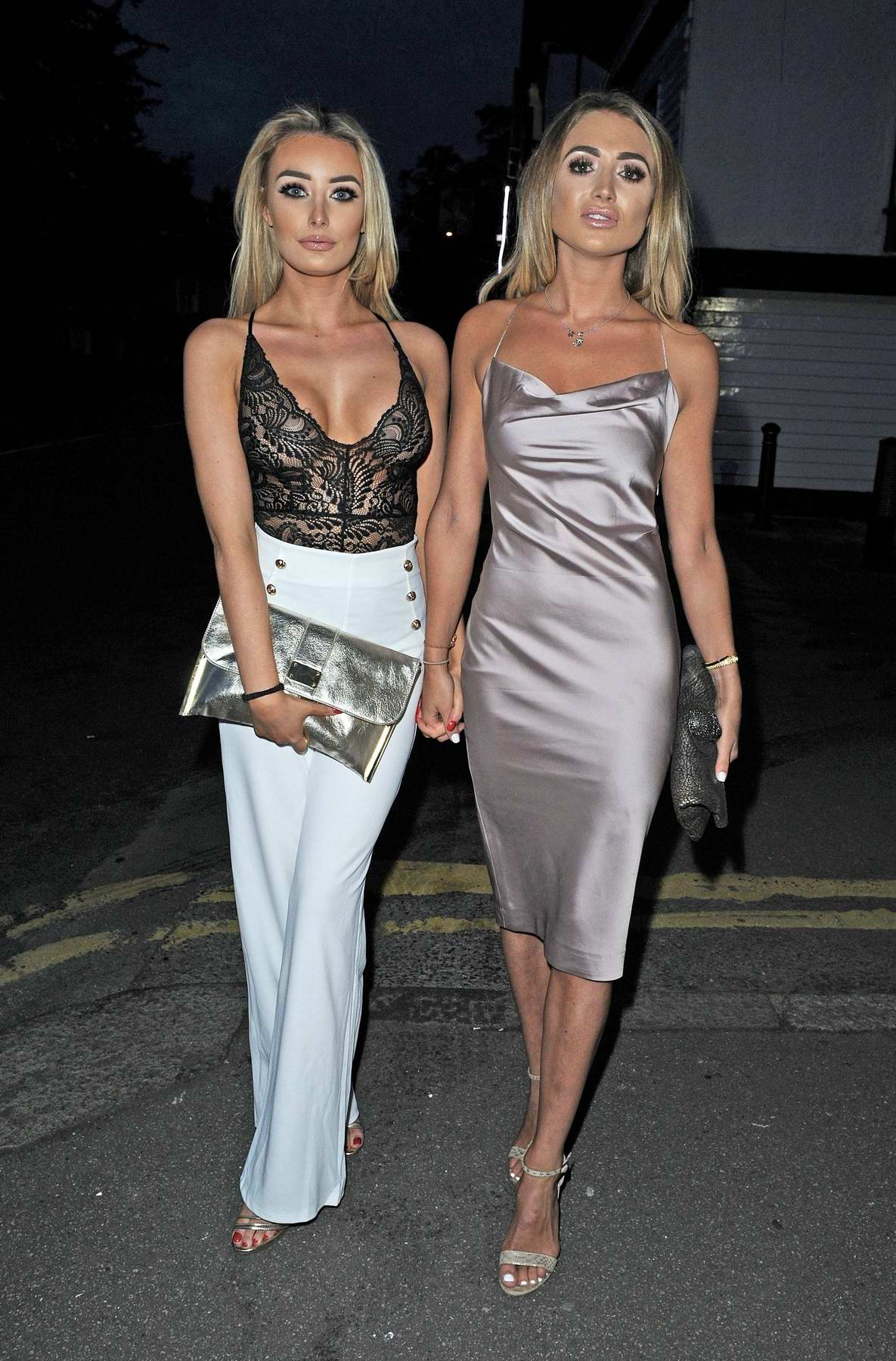 Chloe Crowhurst and Georgia Harrison spotted on a night out at Sheesh in Essex, UK