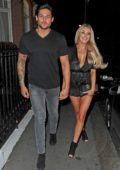 Chloe Crowhurst spotted enjoying a dinner date Dean Ralph at El Pirata in Mayfair, London