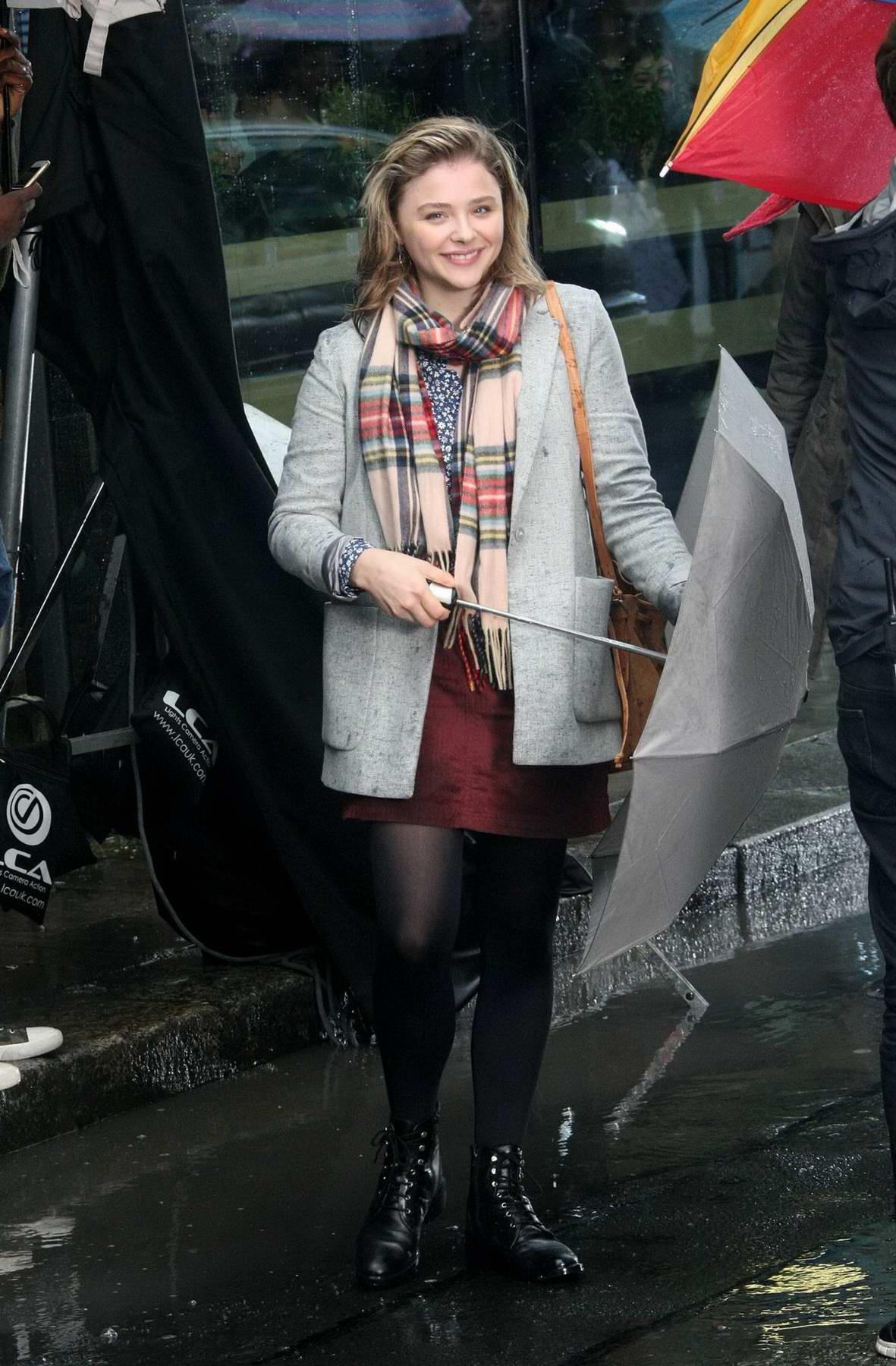 Chloe Grace Moretz on day two of filming of Neil Jordan directed movie 'The Widow' in Dublin, Ireland