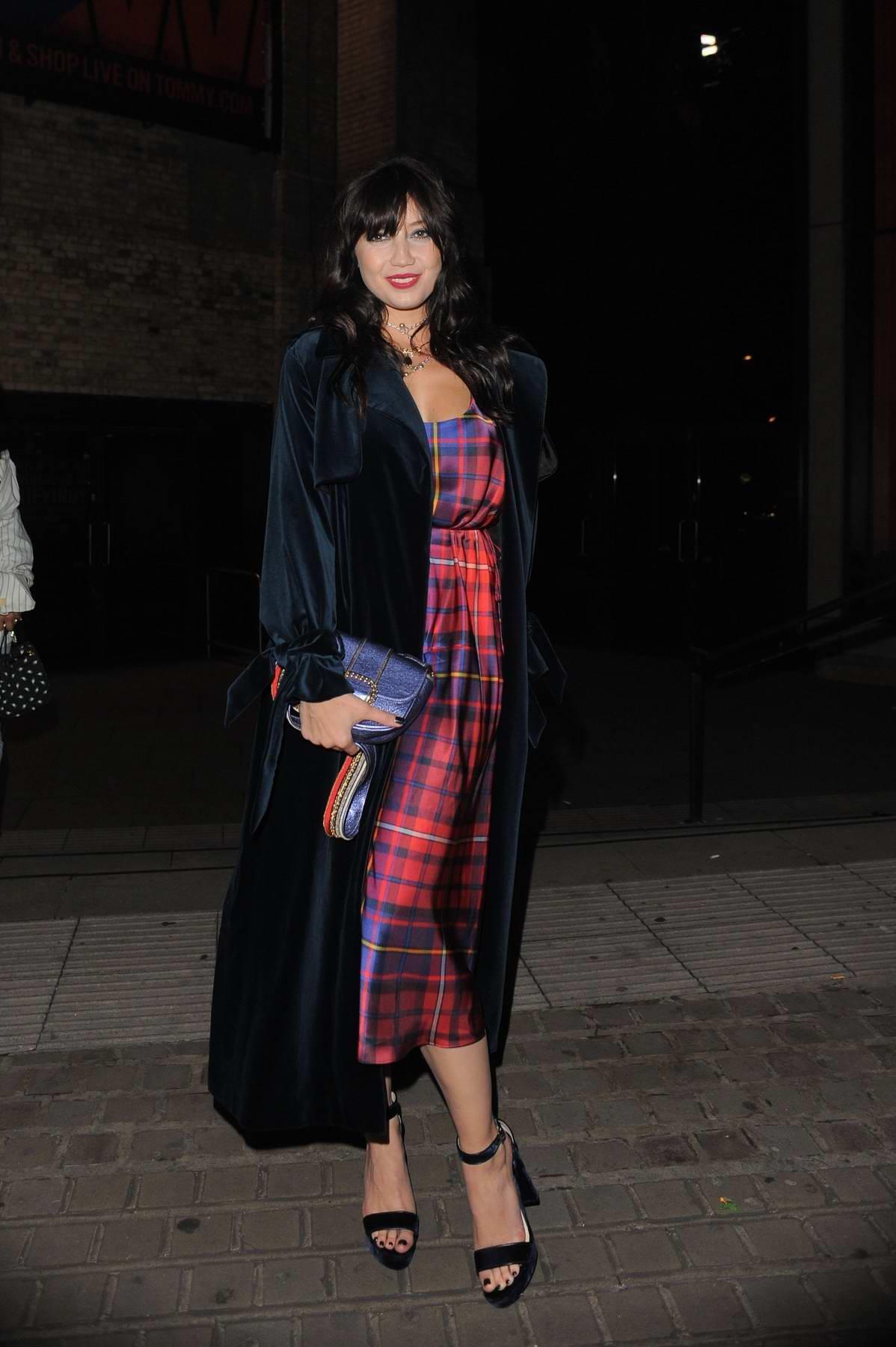 Daisy Lowe leaves the Gigi Hadid X Tommy Hilfiger show during London Fashion Week