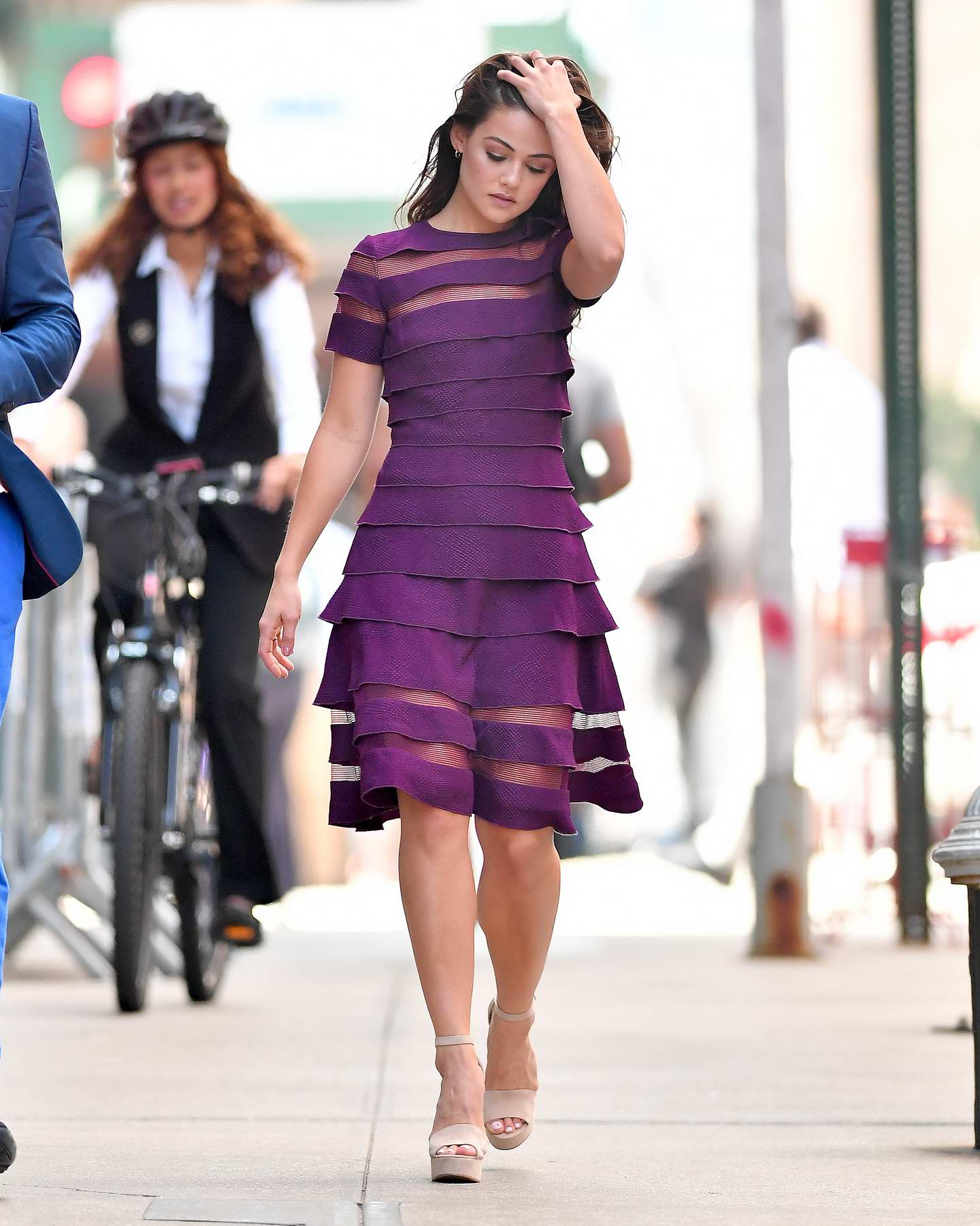 Danielle Campbell spotted wearing a purple dress in New York City