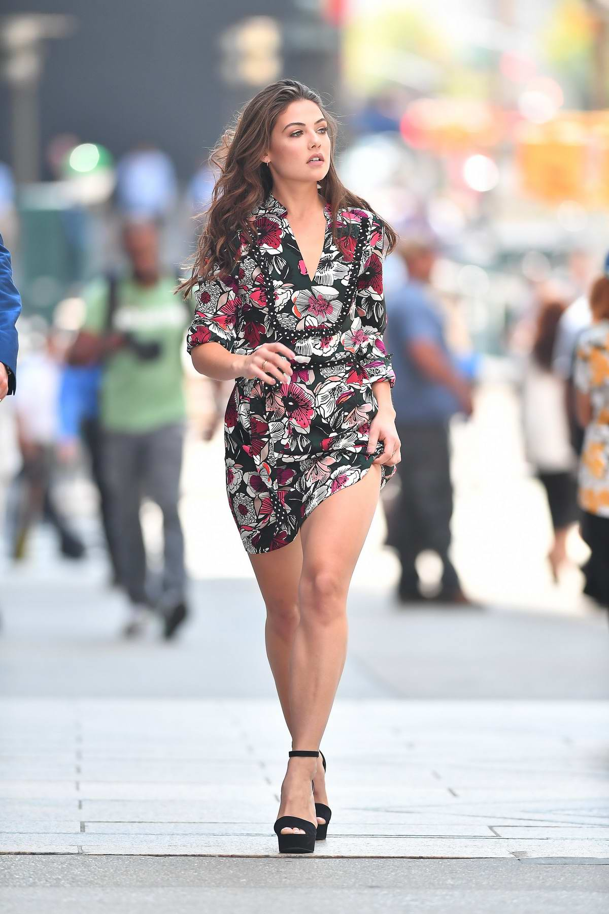 Danielle Campbell wearing a floral dress while out and about in New York City
