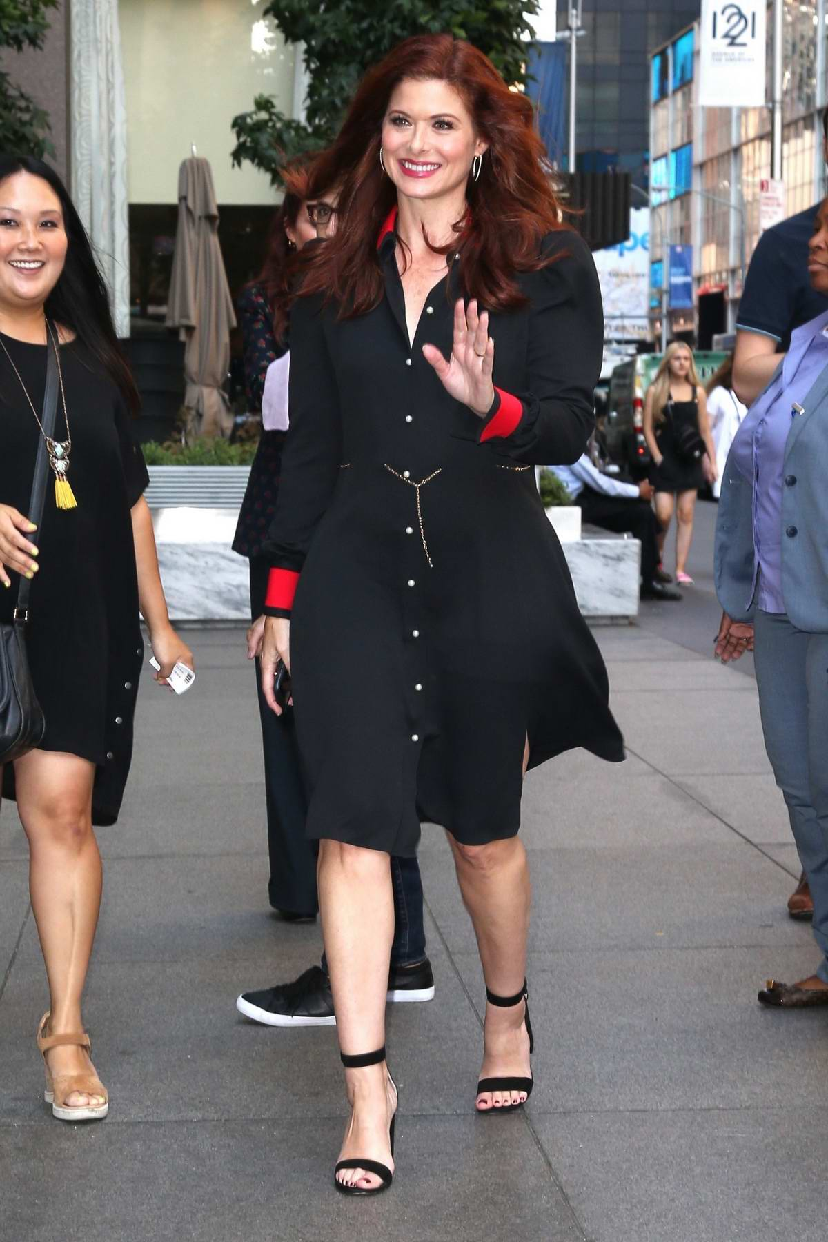Debra Messing head to SiriusXM Radio to promote the reboot of Will & Grace in New York
