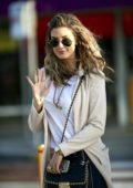 Delta Goodrem arrives at Melbourne International Airport, Australia
