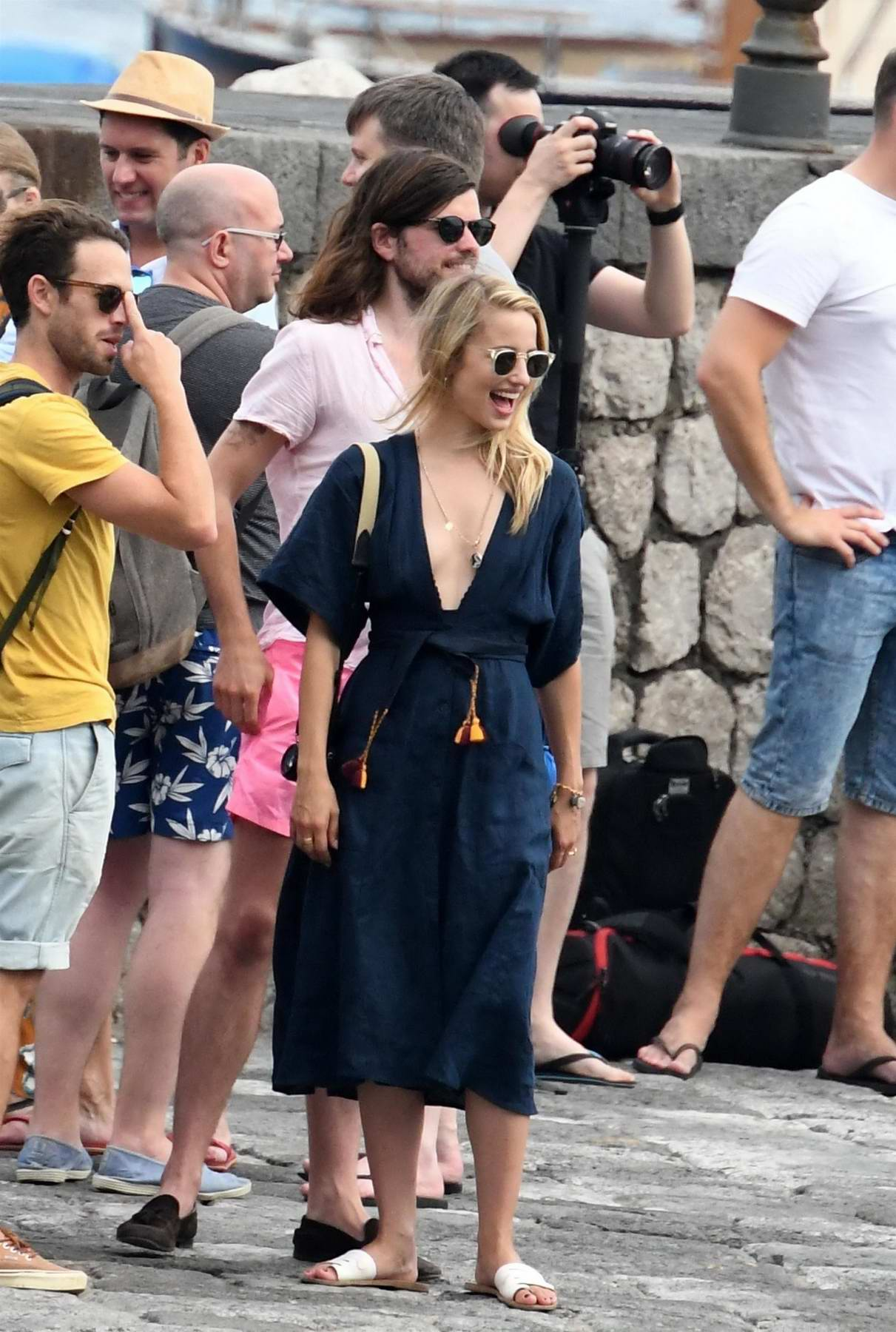Dianna Agron and husband Winston Marshall arrived to attend Lizzy Caplan and Tom Riley pre-wedding party in Amalfi Coast, Italy