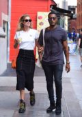 Doutzen Kroes and husband Sunnery James stop for a fresh cup of coffee while out in SoHo, New York