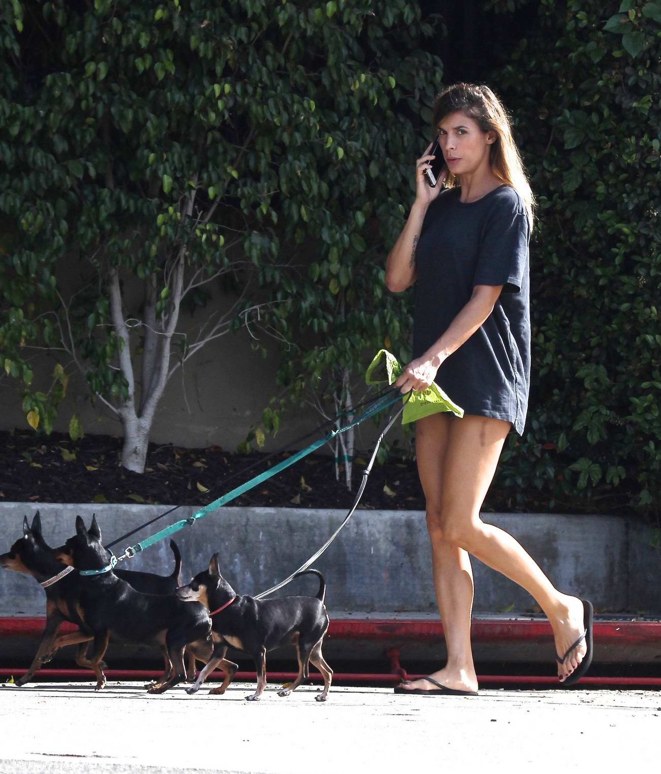 Elisabetta Canalis chats on her mobile phone while out with her dogs in Beverly Hills, Los Angeles