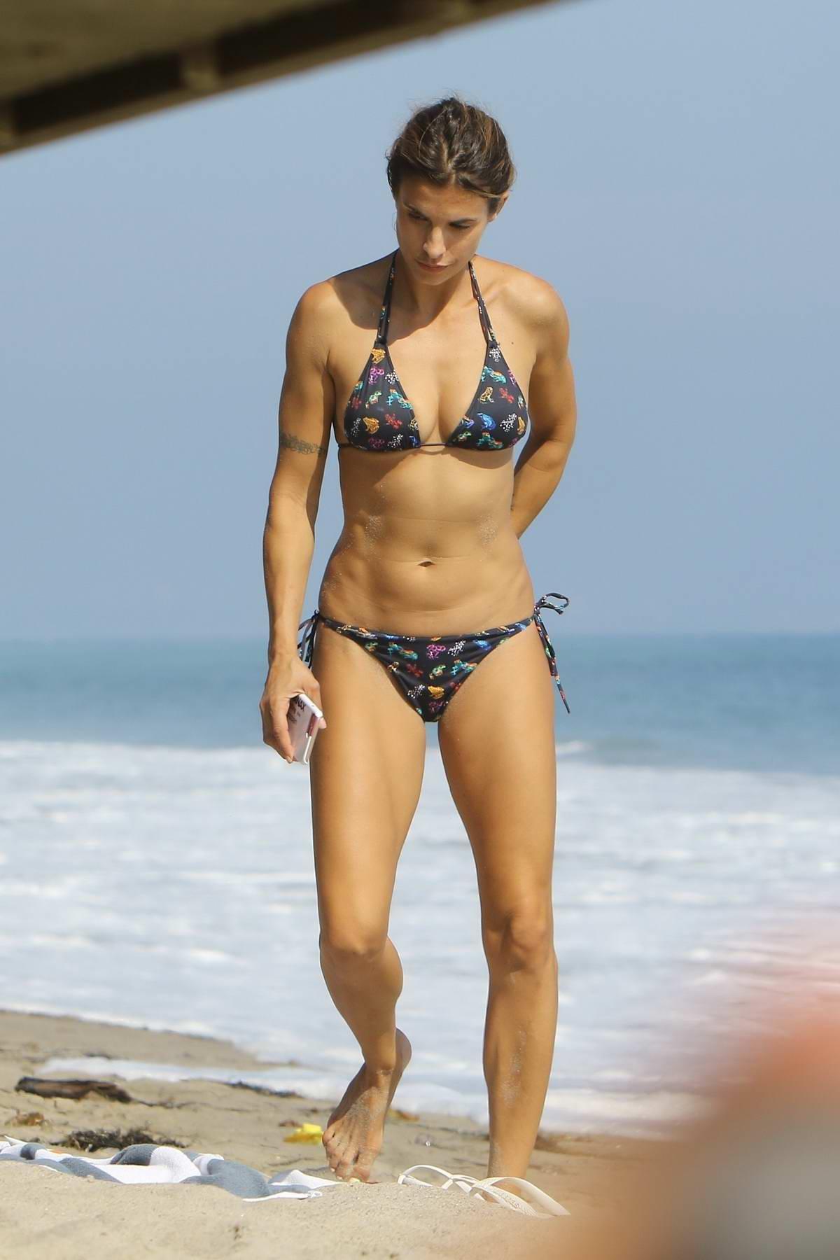 Elisabetta Canalis in bikini relaxing at the beach in Malibu