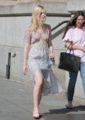 Elle Fanning out for a walk with her mother in New York