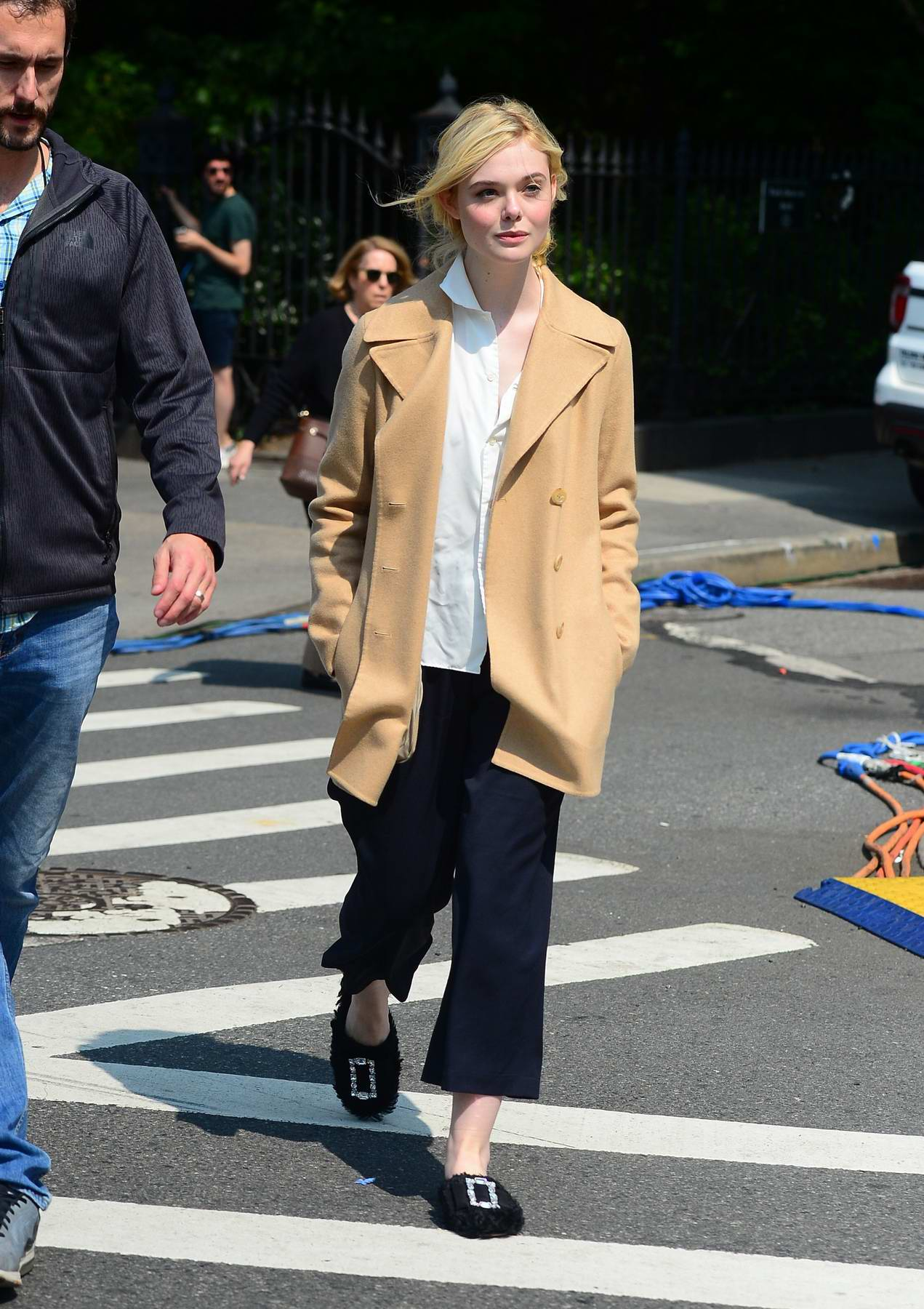 Elle Fanning spotted on the set of Untitled Woody Allen Project movie in New York City