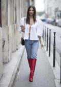 Emily Ratajkowski photoshoot in the streets of Paris during spring summer 2018 Fashion Week, France