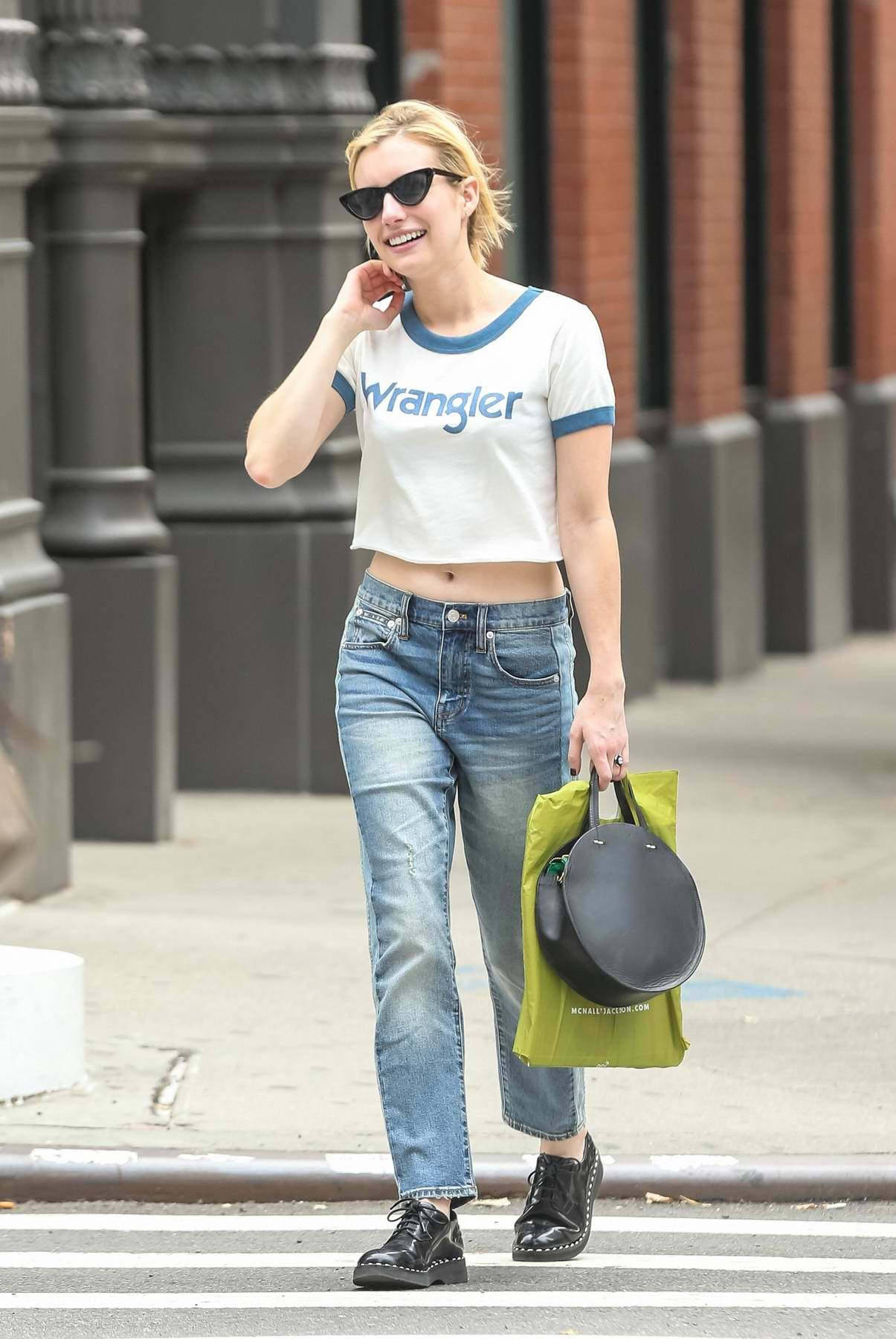 Emma Roberts was spotted exiting her hotel, later out and about in New York