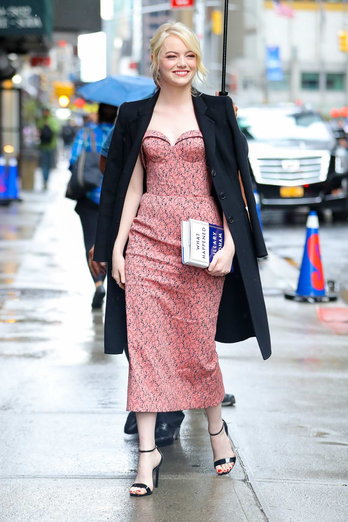Emma Stone arriving at The Late Show With Stephen Colbert in New York City