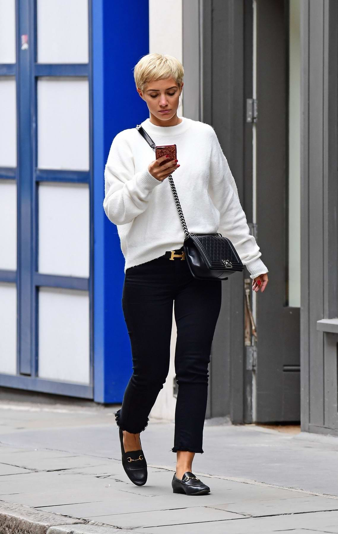 Frankie Bridge is spotted out and about in Soho, London