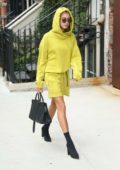 Hailey Baldwin arrives for a meeting in New York City
