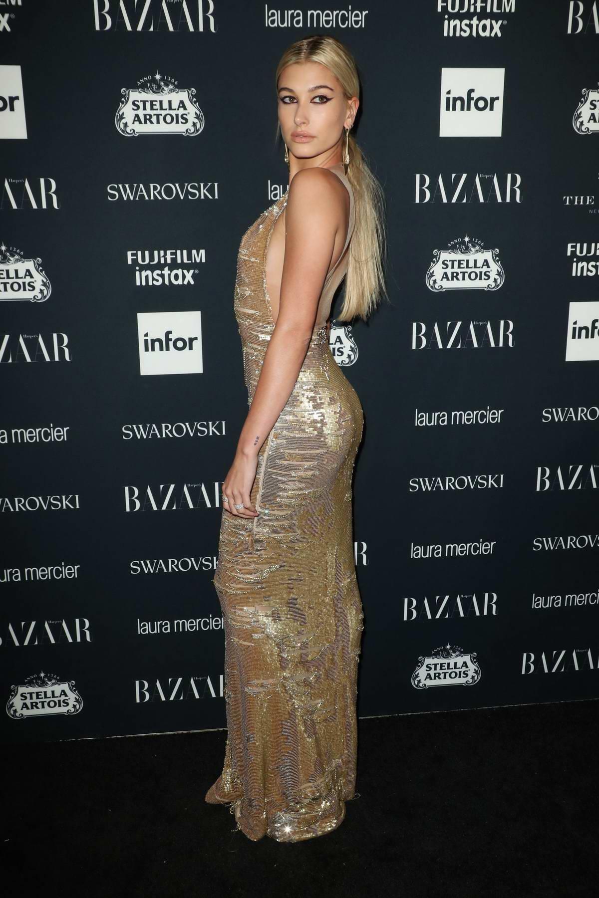 Hailey Baldwin at the Harper's Bazaar ICONS party at New York Fashion Week