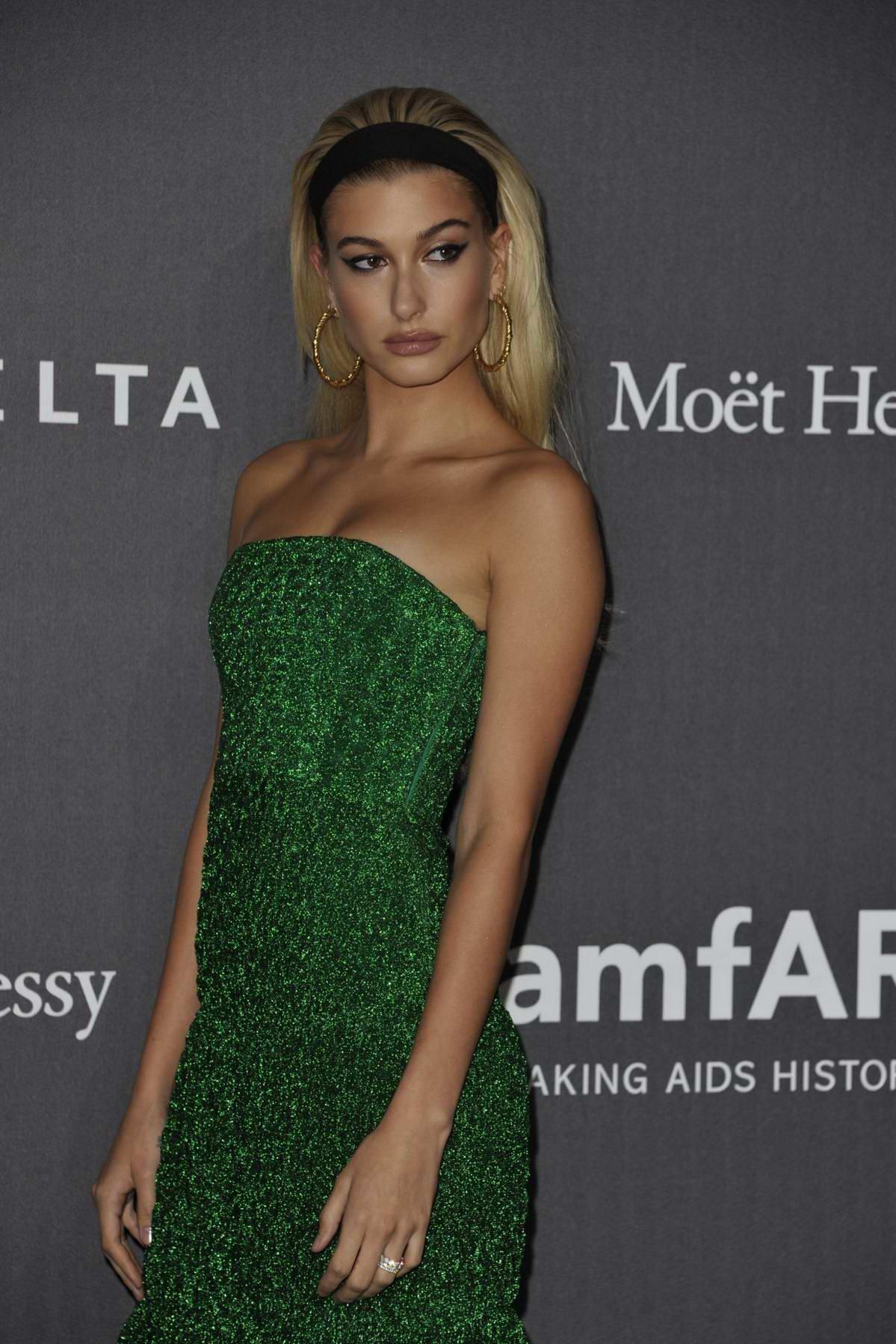 Hailey Baldwin attends amfAR Gala during Milan Fashion Week in Milan, Italy