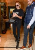 Hailey Baldwin in a HERA tee is spotted during Milan Fashion Week, Italy