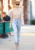 Hailey Baldwin leaving Bar Pitti in the West Village in New York City