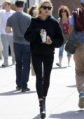 Hailey Baldwin stop by Starbucks to grab a coffee in West Village, New York