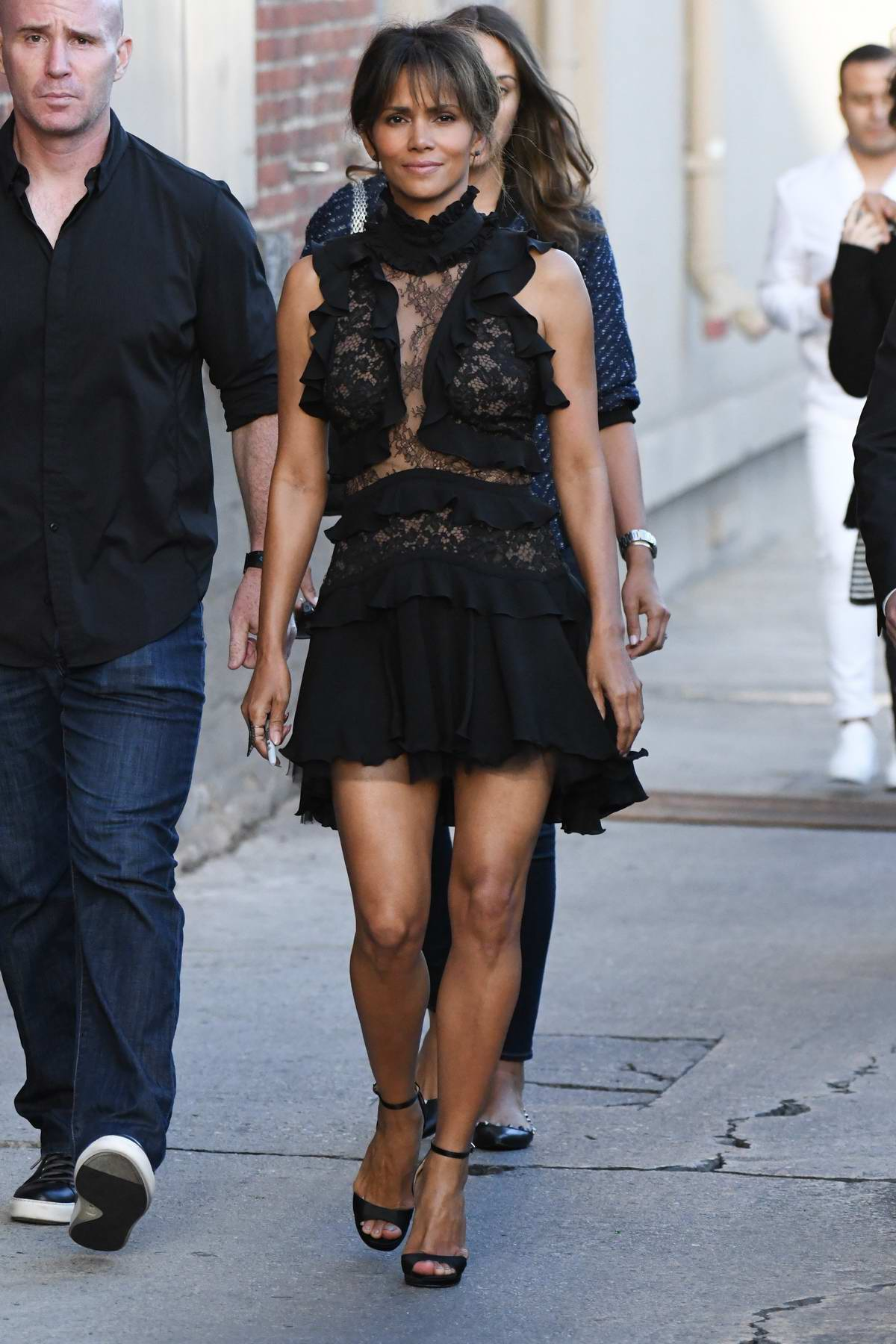 Halle Berry arriving at the Jimmy Kimmel Live in Hollywood, Los Angeles
