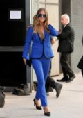 Heidi Klum in a blue pants suit leaves Art Beam in New York