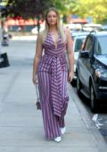 Iskra Lawrence wearing a striped jumpsuit, attends Tome spring summer 2018 fashion show at The Kitchen in New York