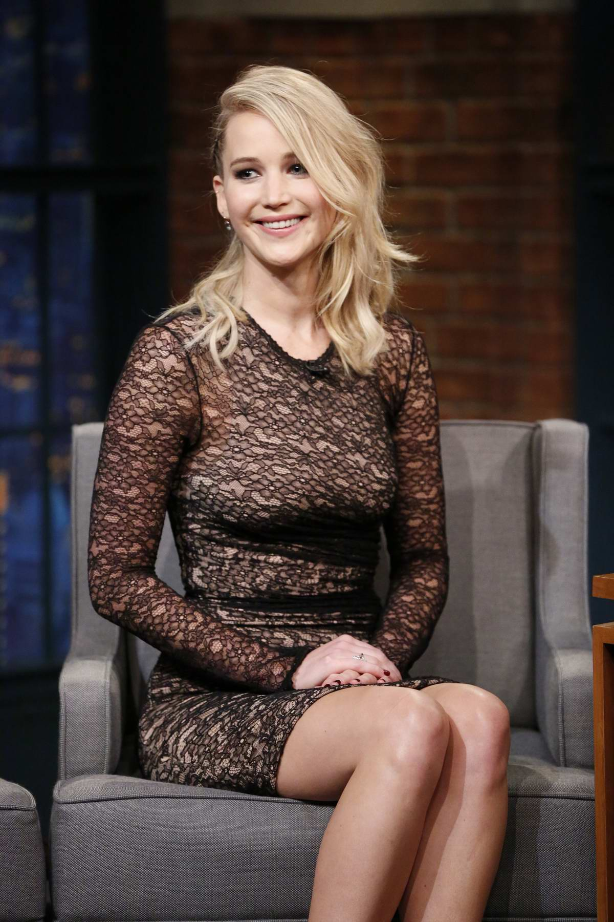 Jennifer Lawrence makes an appearance at Late Night with Seth Meyers in New York