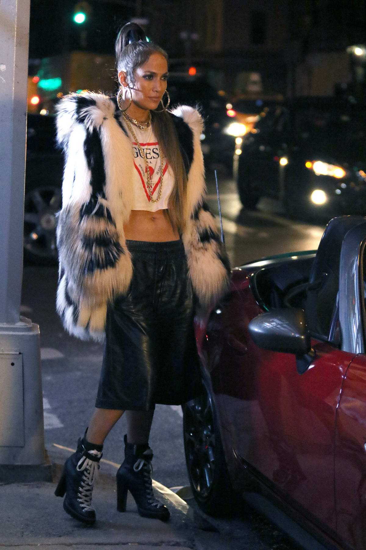 Jennifer Lopez filming her latest music video 'Amor' in the early morning in Soho neighborhood in New York