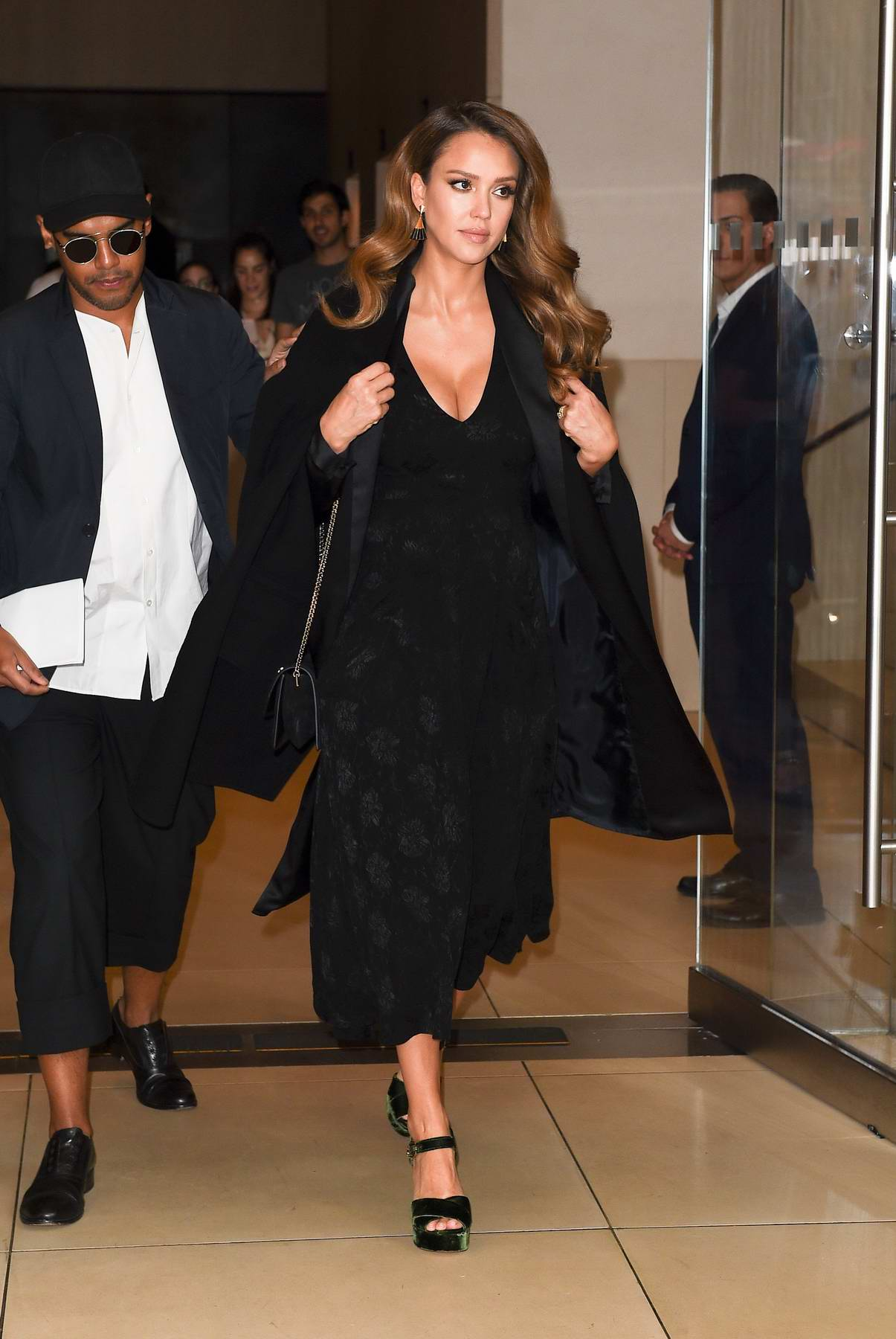 Jessica Alba steps out the Edition Hotel with a friend during NYFW in New York