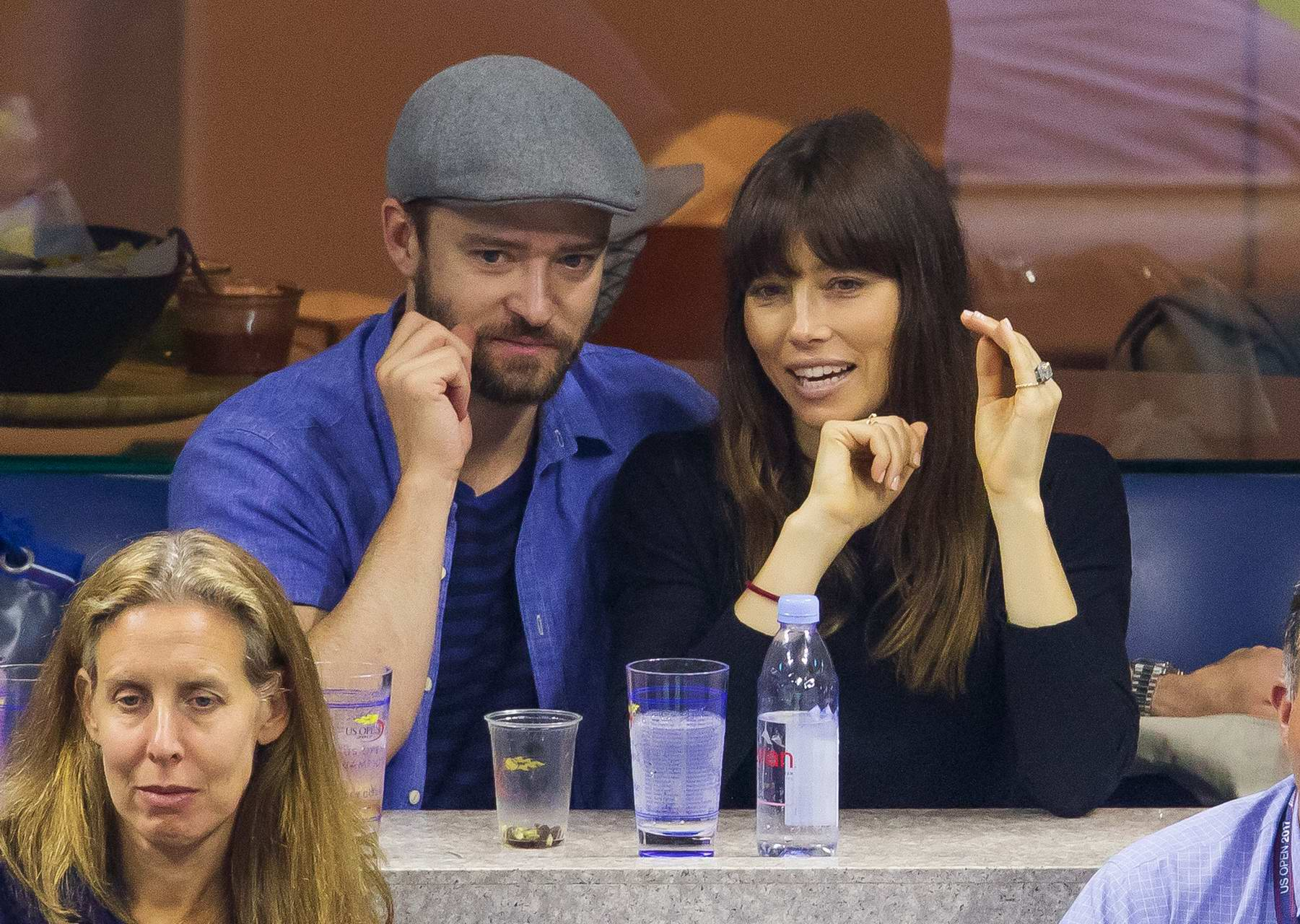 Jessica Biel and Justin Timberlake at Day 6 of the US Open to watch Roger Federer play in New York City