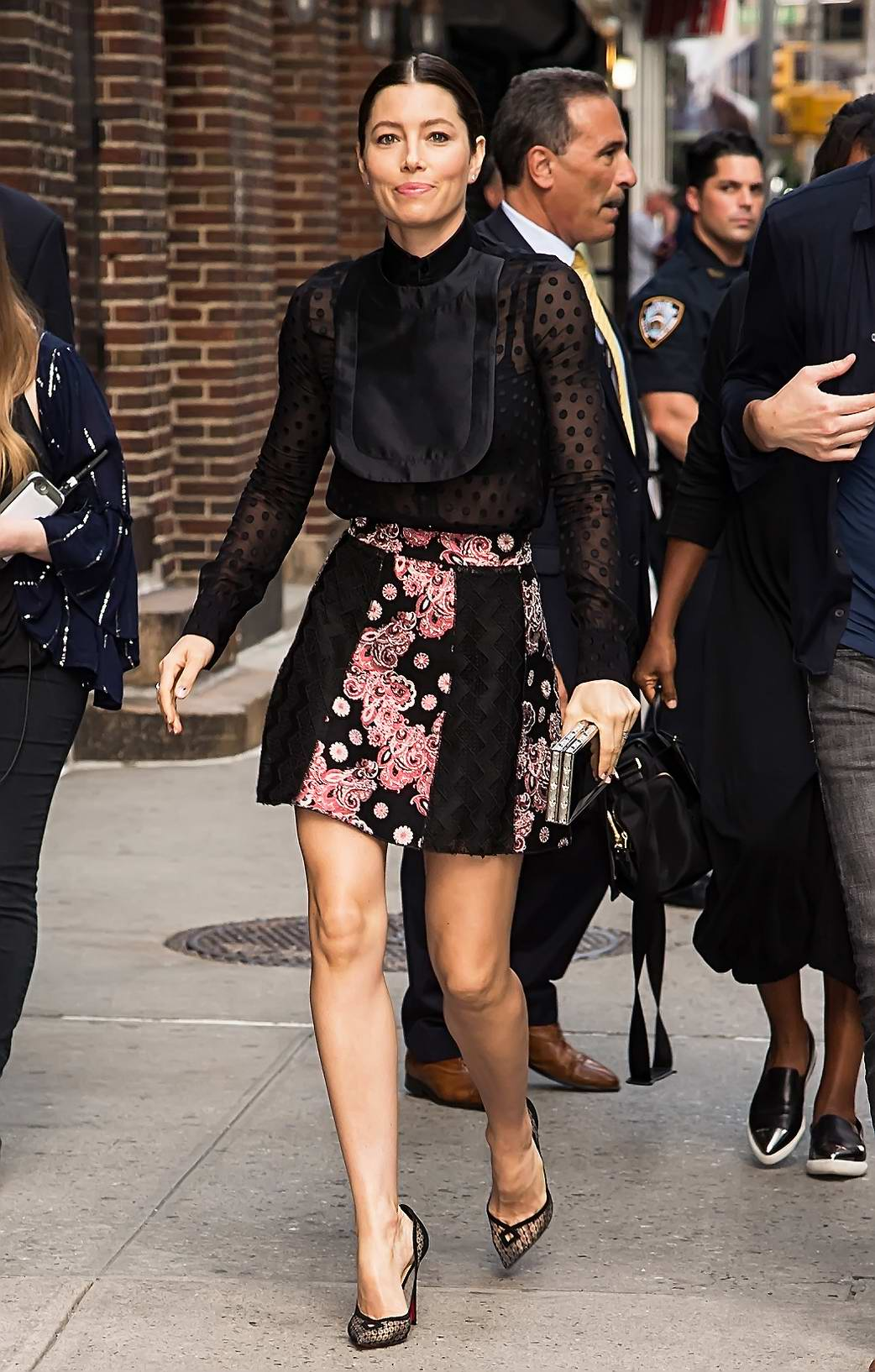 Jessica Biel arrives at The Late Show with Stephen Colbert in New York