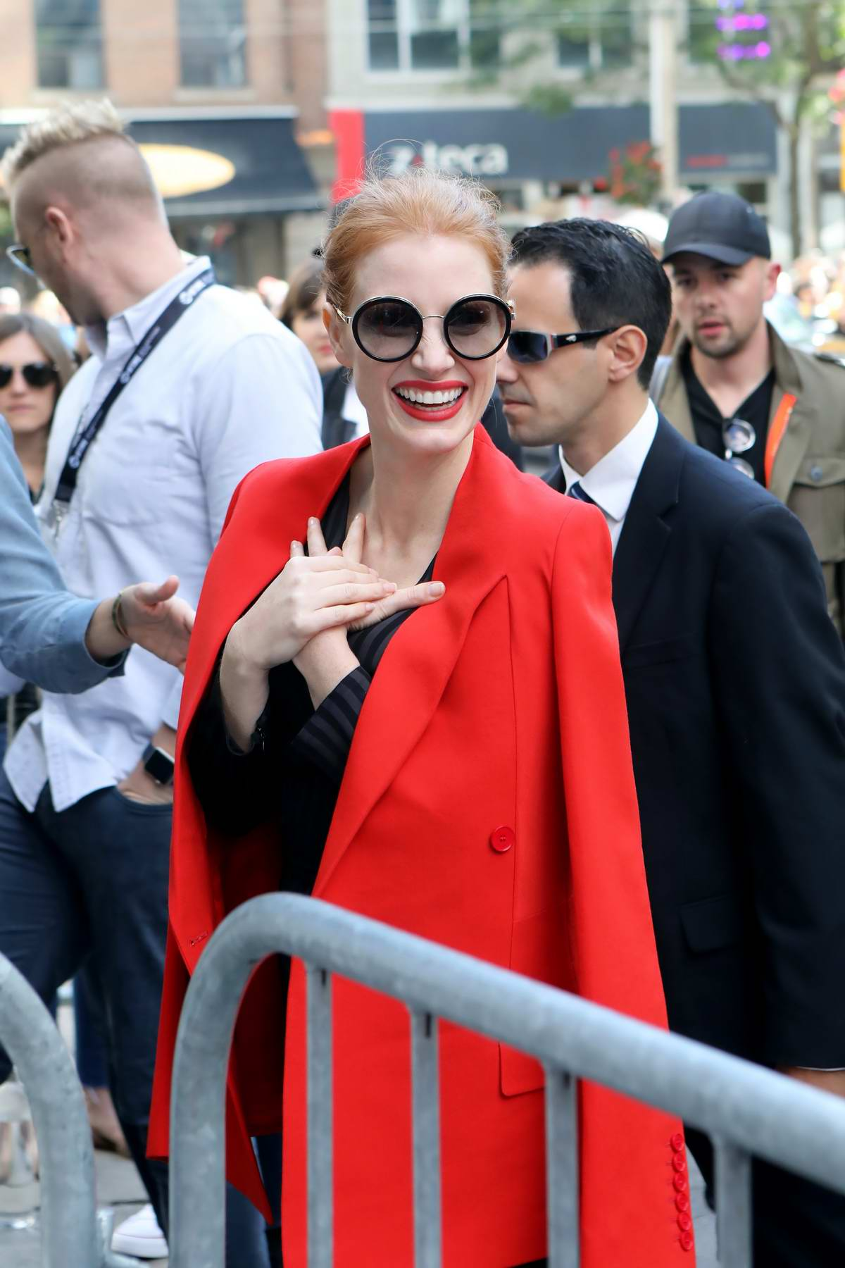 Jessica Chastain arriving at an event during Toronto International Film Festival in Toronto, Canada