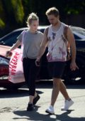 Jorgie Porter leaves Urban Outfitters after shopping with a Mystery Guy in West Hollywood, Los Angeles