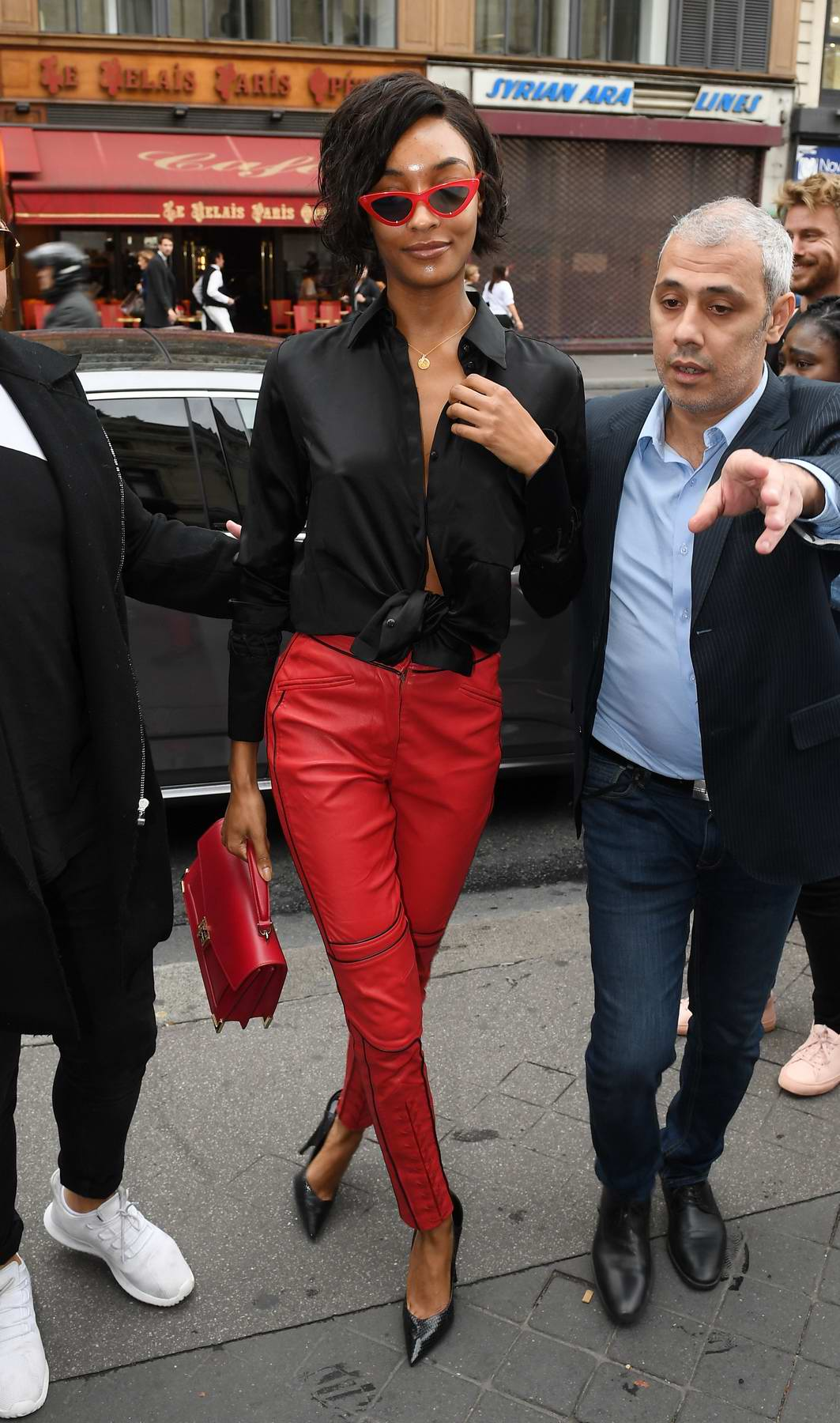 Jourdan Dunn arriving at the Balmain spring summer 2018 show during Paris Fashion Week