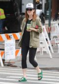 Julianne Moore shopping in the West Village while drinking juice in New York