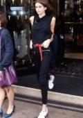 Kaia Gerber leaves George V Hotel in Paris during Fashion Week