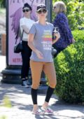 Kaley Cuoco enjoys lunch with her mom and sister Briana as they grab a bite in Calabasas, California