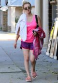 Kaley Cuoco in a pink Nike tank top and shorts leaves a yoga class in Sherman Oaks, Los Angeles