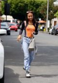 Karrueche Tran gets coffee at Alfred's in her new Maserati in Los Angeles