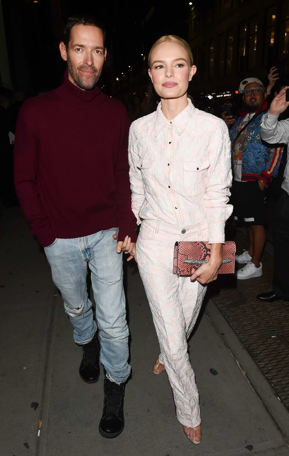 Kate Bosworth with husband Michael Polish at the Calvin Klein show, spring summer 2018 during New York Fashion Week