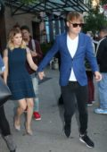 Kate Mara wears blue while leaving the Bowery Hotel in Downtown, New York