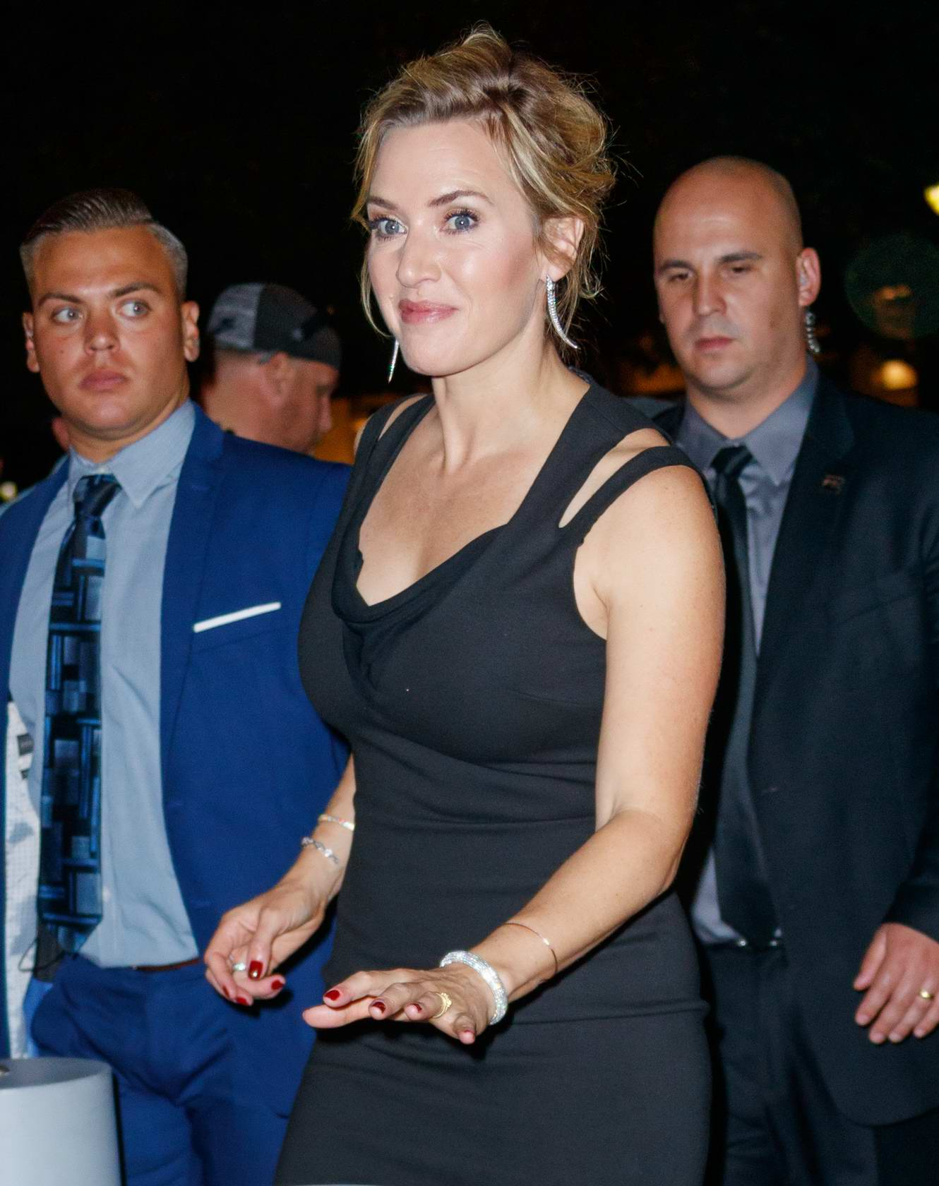 Kate Winslet dressed in a little black dress while arriving at times talk in New York