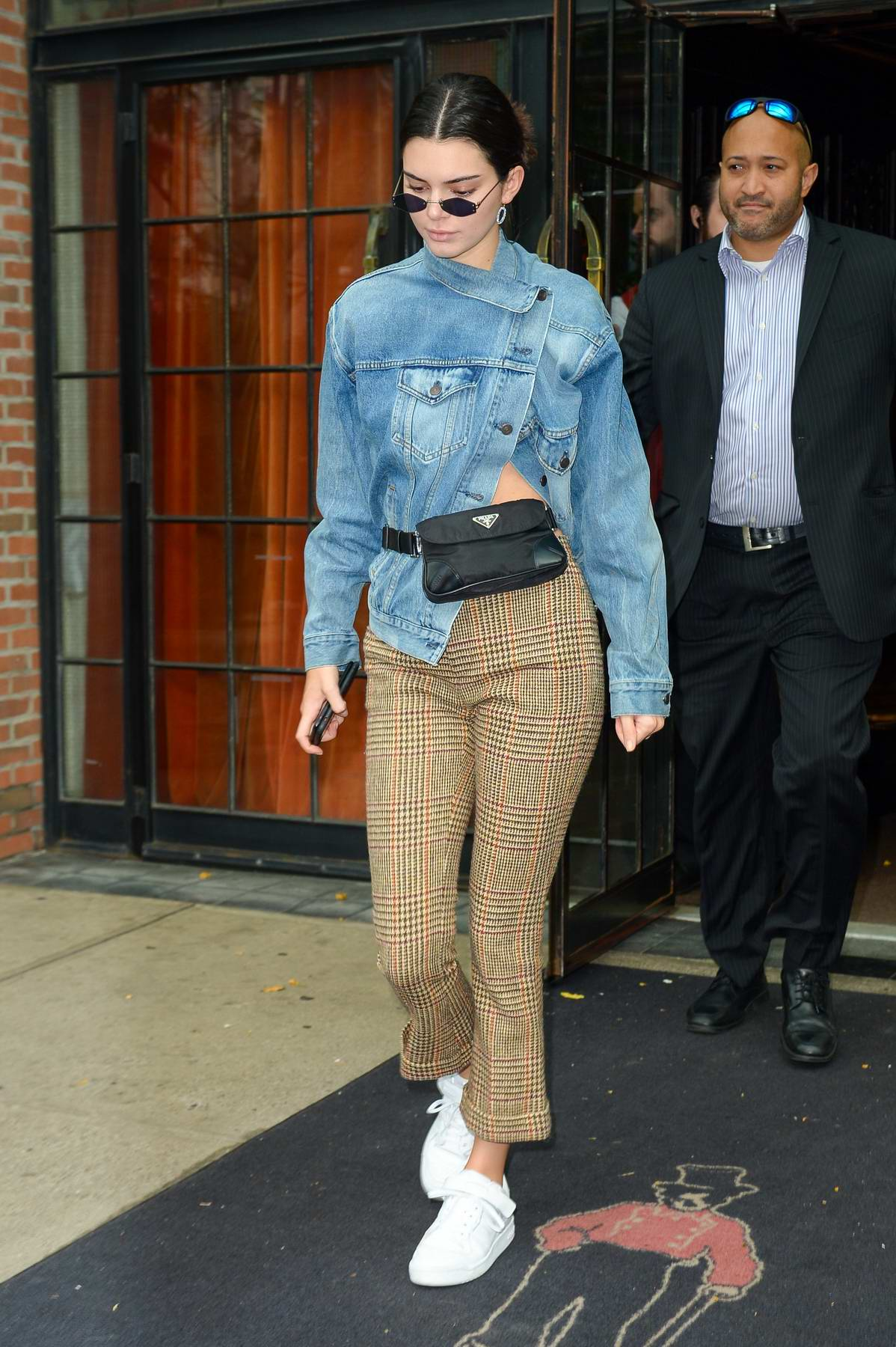 Kendall Jenner wears tweed and denim in Downtown, Manhattan, New York