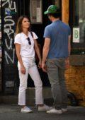 Keri Russell and Matthew Rhys walking around Soho in New York City